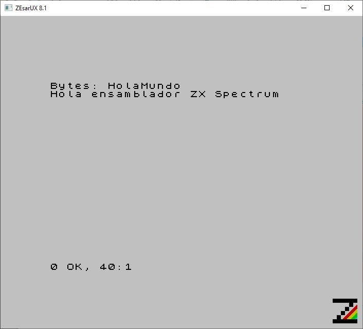 Hola Mundo, Hola ensamblador ZX Spectrum